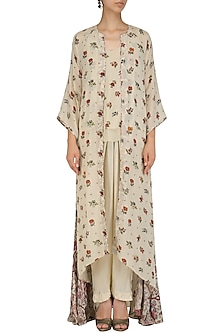 Off White Cami Top with Floral Print Cape and Pintuck Pants by Nikasha