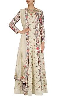 White Embroidered Floral Print Anarkali Set by Nikasha