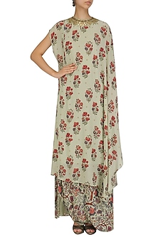 Mint Floral Print Embroidered Kaftan with Cowl Skirt by Nikasha