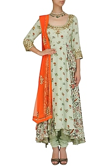 Mint Floral Floral Print Embroidered Kalidaar Set by Nikasha