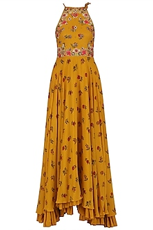 Mustard Yellow Embroidered Lotus Pond Print Kalidaar Set