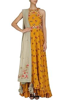 Mustard Yellow Embroidered Lotus Pond Print Kalidaar Set by Nikasha
