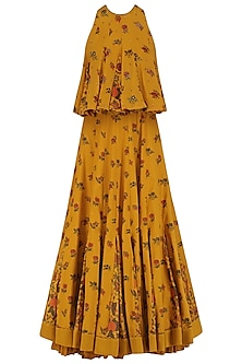 Mustard Yellow Embroidered Chintz Print Lehenga Set by Nikasha