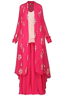 Rani Pink Printed Shrug with Cami Top and Sharara Pants