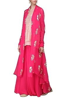 Rani Pink Printed Shrug with Cami Top and Sharara Pants by Nikasha