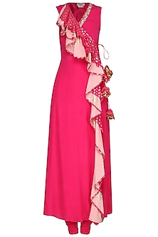 Rani Pink Printed Wrap Tunic with Churidar