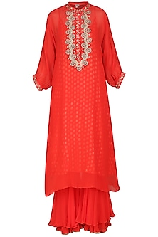 Carrot Red Embroidered Kurta Set