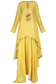Yellow Asymmetrical Printed Tunic with Skirt and Dupatta