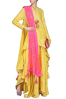 Yellow Asymmetrical Printed Tunic with Skirt and Dupatta by Nikasha