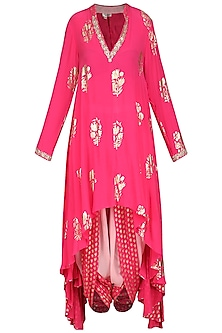 Rani Pink Asymmetrical Tunic with Cowl Dhoti Pants by Nikasha