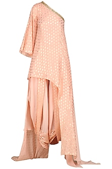 Rose Pink One Shoulder Tunic with Cowl Dhoti Pants