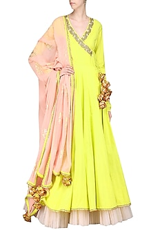Lime Green Printed Kurta Set by Nikasha