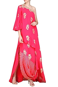 Rani Pink One Shoulder Tunic with Cowl Skirt by Nikasha