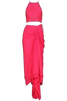 Rani Pink Embroidered Crop Top with Drape Skirt by Nikasha