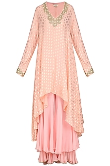 Rose Pink Lotus Foil Printed Kurta Set