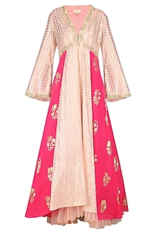 Salmon Pink Embroidered Anarkali with Rose Pink Churidar and Dupatta