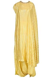 Yellow One Shoulder Kaftan Tunic with Cowl Skirt by Nikasha