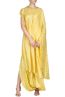 Yellow One Shoulder Kaftan Tunic with Cowl Skirt by Nikasha