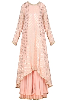 Salmon Pink Embellished Sharara Set