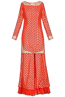 Carrot Red Embroidered Sharara Set