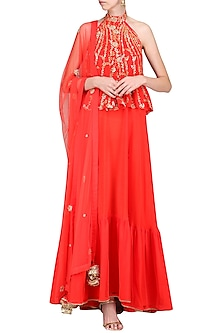 Carrot Red Embroidered Anarkali with Churidar and Dupatta by Nikasha