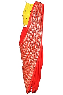 Yellow Embroidered Crop Top with Cowl Dhoti Pants