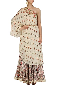 Off White Floral Work One Shoulder Tunic and Skirt Set by Nikasha