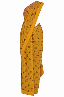 Mustard Yellow Lotus Pond Print Blouse and Saree Set by Nikasha