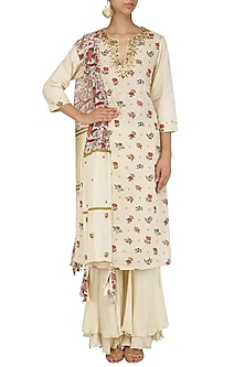 Cream Embroidered Kurta and Sharara Pants Set by Nikasha