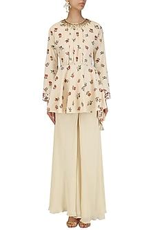 Cream Embroidered Peplum Top and Pants Set by Nikasha