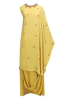 Pitambari Yellow Kaftan Dress with Cowl Skirt