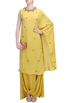 Pitambari Yellow Kaftan Dress with Cowl Skirt by Nikasha