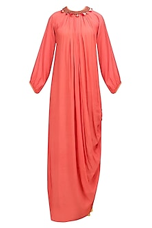 Orange Embroidered Rouched Dress with Crushed Skirt by Nikasha