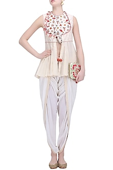 Cream Embroidered Horse Shoe Yoke Jacket with Overlap Pants by Nikasha