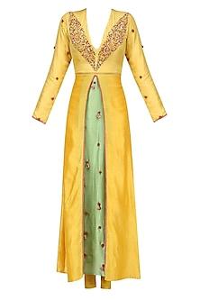 Pitambari Yellow Box Pleated Embroidered Kalidaar Kurta Set by Nikasha