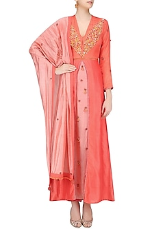 Orange Box Pleated Embroidered Kalidaar Kurta Set by Nikasha