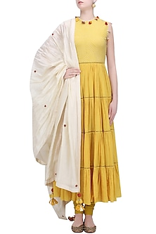 Pitambari Yellow Embroidered Tiered Kurta with Cream Dupatta by Nikasha