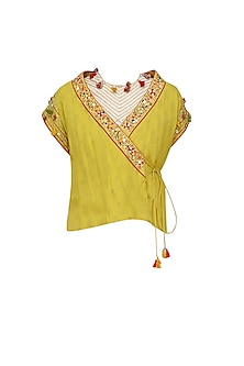 Pitambari Yellow Thread Embroidered Overlap Jacket
