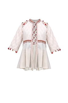 Cream Thread Embroidered Front Open Jacket