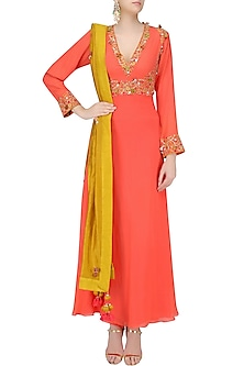 Orange Thread Embroidered Kalidaar Kurta Set by Nikasha