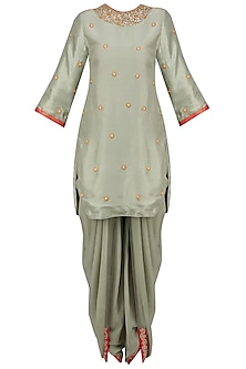 Mint Embroidered Backless Short Kurta and Dhoti Pants