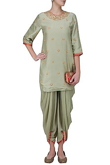 Mint Embroidered Backless Short Kurta and Dhoti Pants by Nikasha