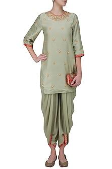 Mint Embroidered Backless Short Kurta and Dhoti Pants by Nikasha