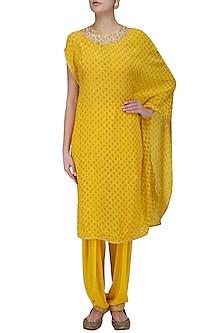 Yellow Printed One Shoulder Kurta and Patiala Salwar by Nikasha