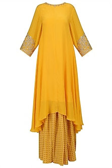 Yellow Embroidered Asymmetric Kurta with Printed Skirt