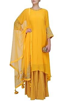 Yellow Embroidered Asymmetric Kurta with Printed Skirt by Nikasha