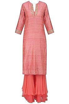 Pink Embroidered Print Kurta with Double Layer Sharara Pants by Nikasha