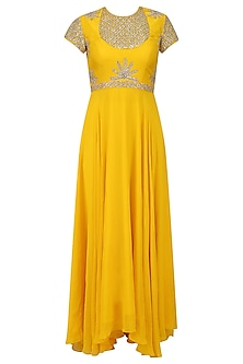 Yellow Embroidered Asymmetric Kalidaar Set