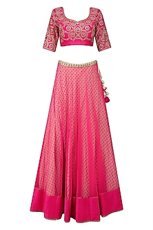 Bright Pink Embroidered Lehenga Set