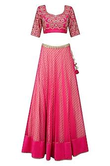 Bright Pink Embroidered Lehenga Set by Nikasha